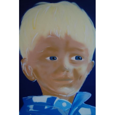 """PORTRAIT """"BLUE EYES"""". CUSTOMIZED MADE. SPRAY PAINT AND PAINT-MARKER ON CANVAS"""