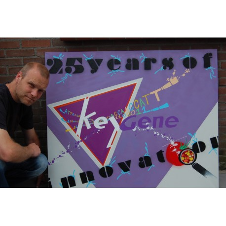 """KEYGENE 25 YEARS OF INNOVATION"". CUSTOMIZED MADE. SPRAY PAINT AND PAINTMARKER ON CANVAS"